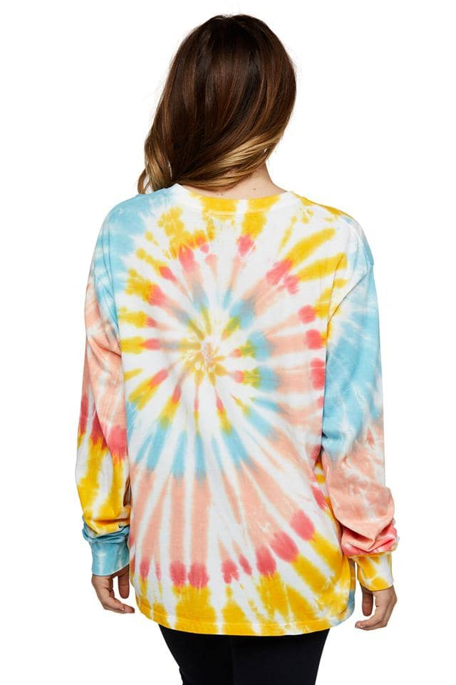 Daisy Swirl Tie Oversized Dye Long Sleeve T-shirt