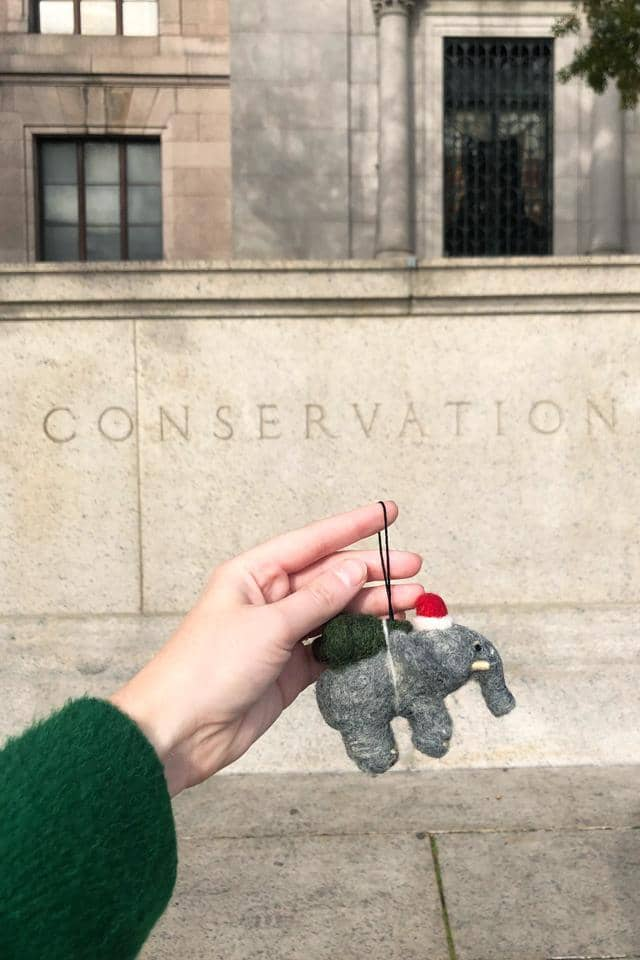 Holiday Elephant Wool Ornament