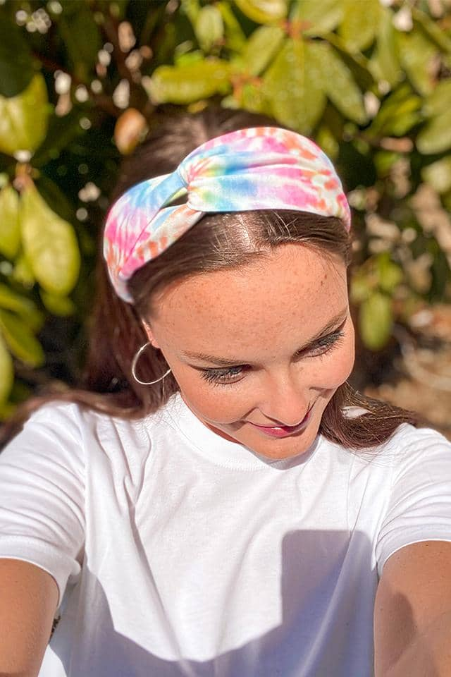 Rainbow Swirl Knotted Headband