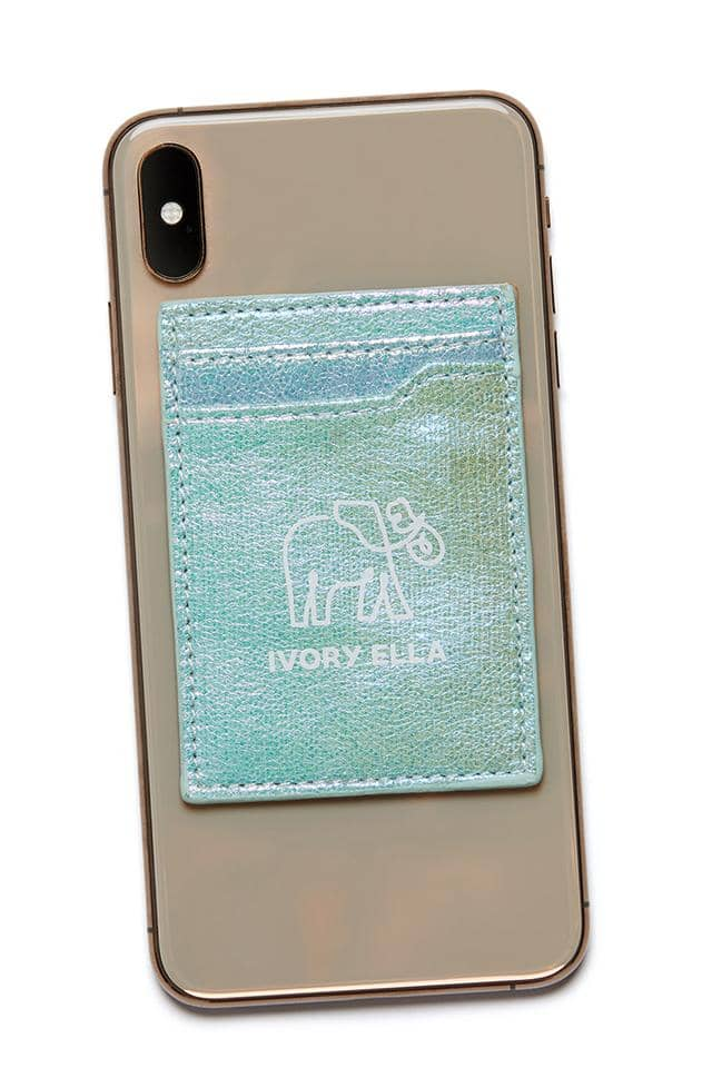 Iridescent Metallic Cell Phone Card Holder