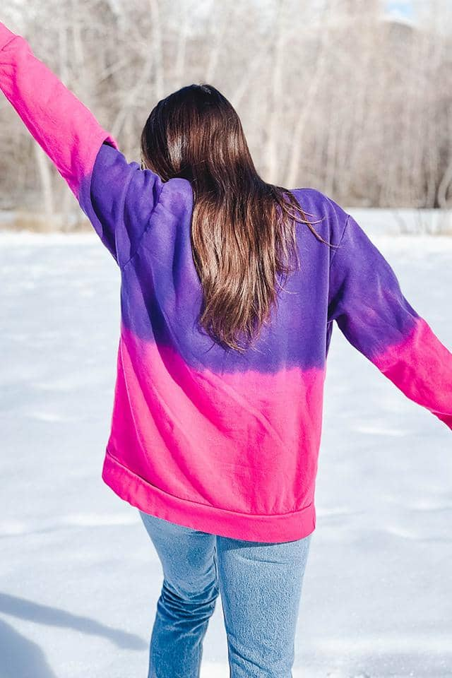 Pink Purple Ombre Oversized Sweatshirt