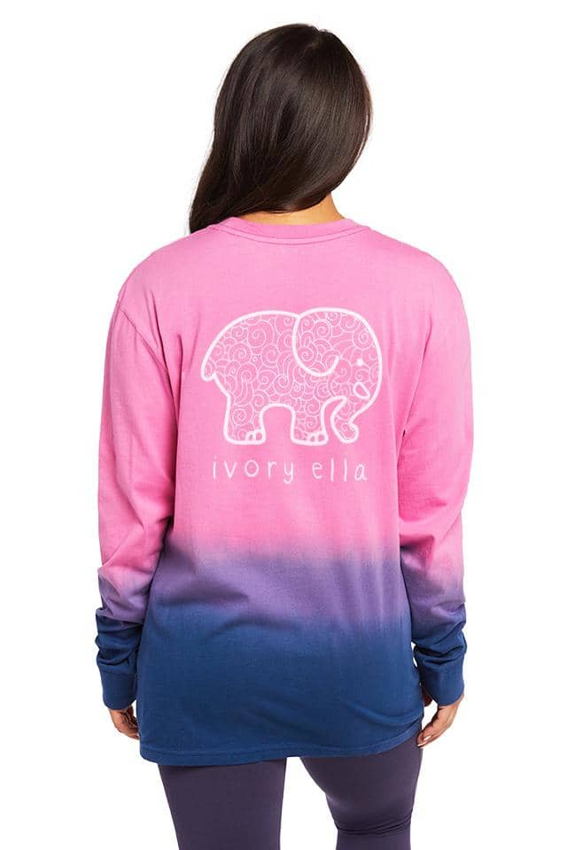 Ombre Doodle Oversized Long Sleeve T-shirt