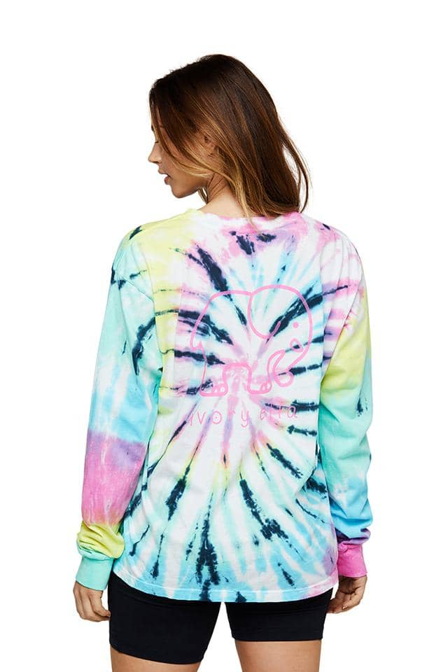 Neon Rainbow Swirl Oversized Long Sleeve T-shirt