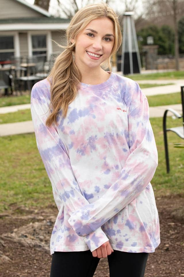 Love Crinkle Tie Dye Oversized Long Sleeve T-shirt