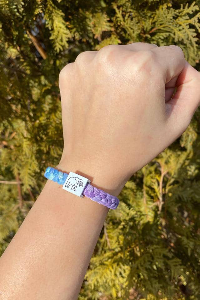 Purple Tie Dye Multi Stretchy Logo Bracelet