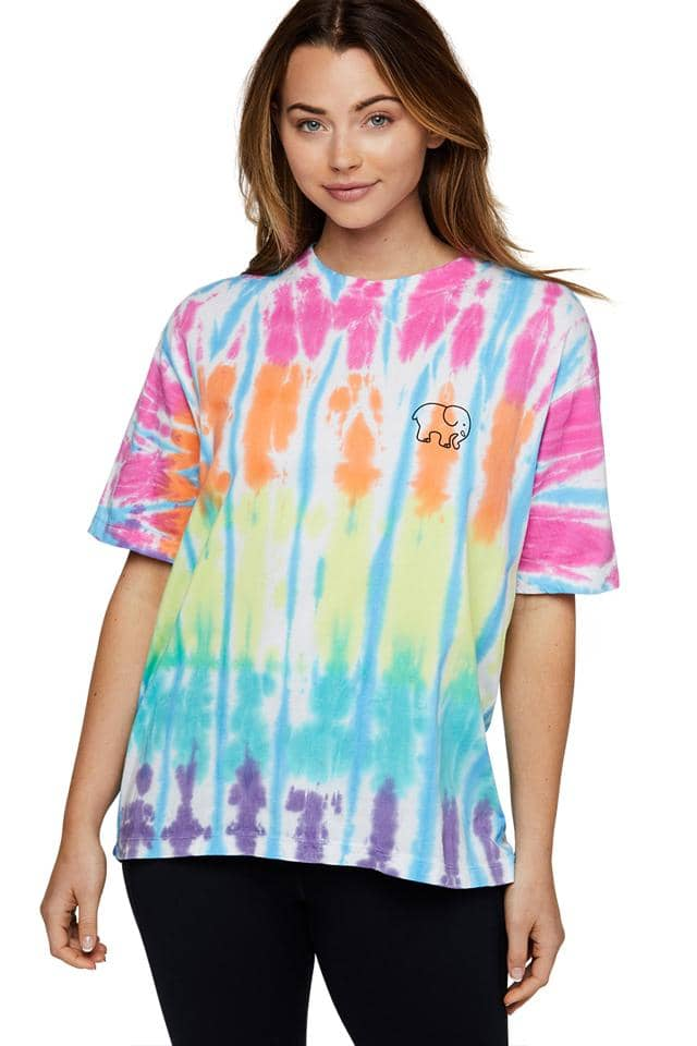 Rainbow Stripe Tie Dye Oversized T-shirt