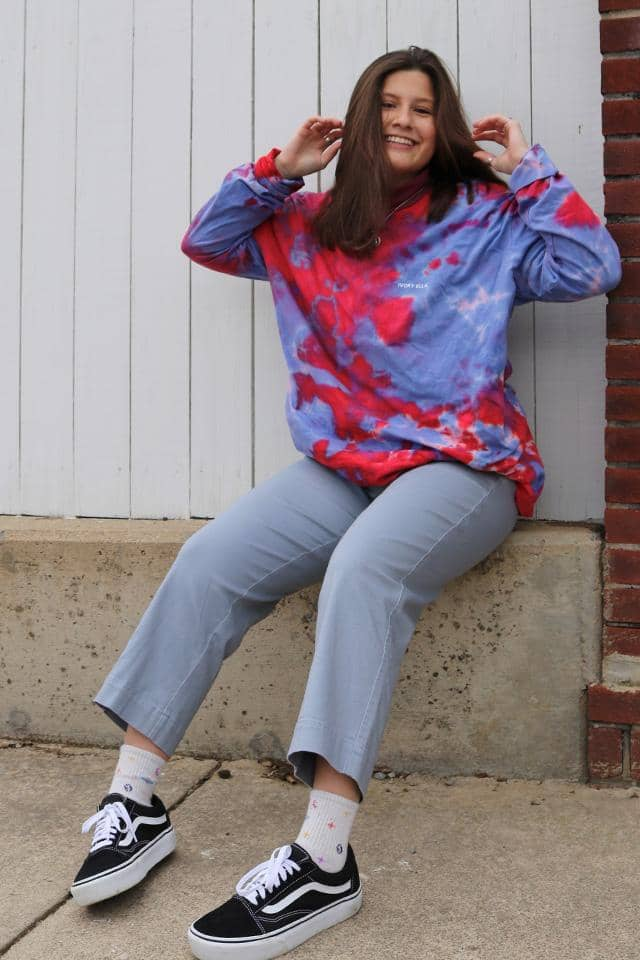 Blue & Red Cloud Tie Dye Long Sleeve T-shirt