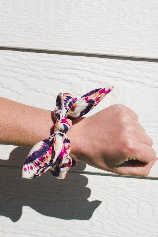 Burst Tie Dye Knotted Scrunchie