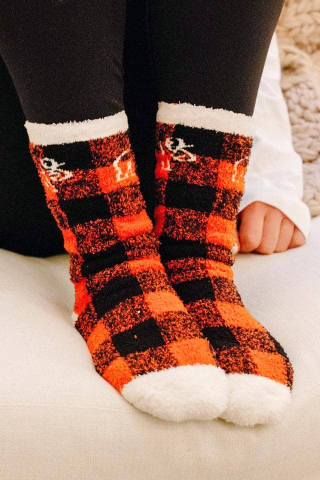 Buffalo Plaid Elephant Fuzzy Socks