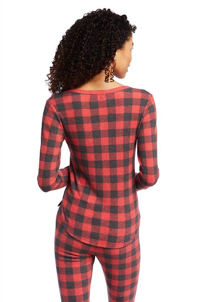 Buffalo Plaid Henley Sleep Long Sleeve T-Shirt
