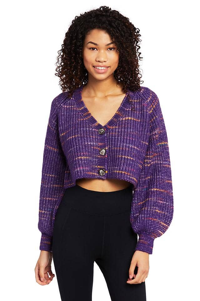 Relaxed Fit Marl Cropped Cardigan
