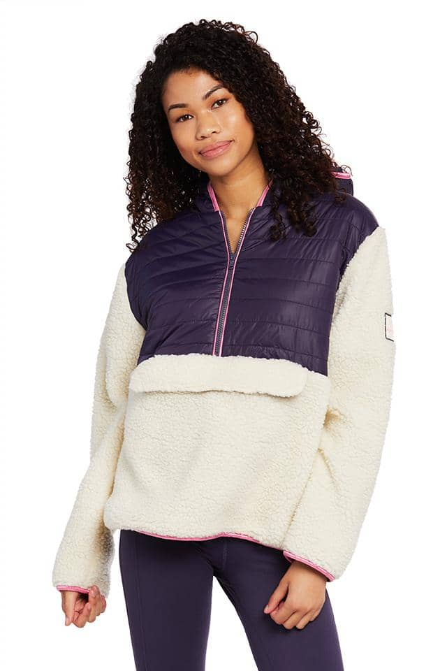 Mixed Media Half Zip Sherpa Jacket