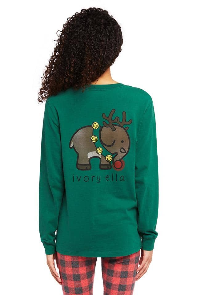 Holiday Reindeer Oversized Long Sleeve T-shirt