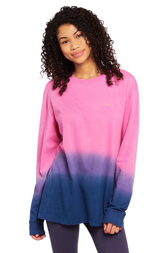 Pink Blue Ombre Oversized Long Sleeve T-Shirt