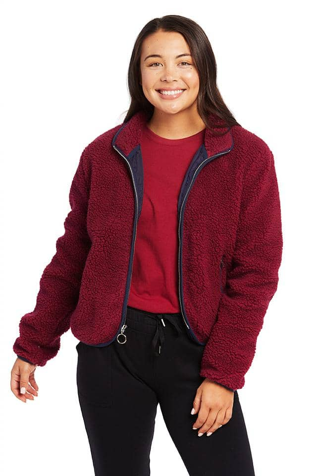 Burgundy Regular Full Zip Sherpa Jacket