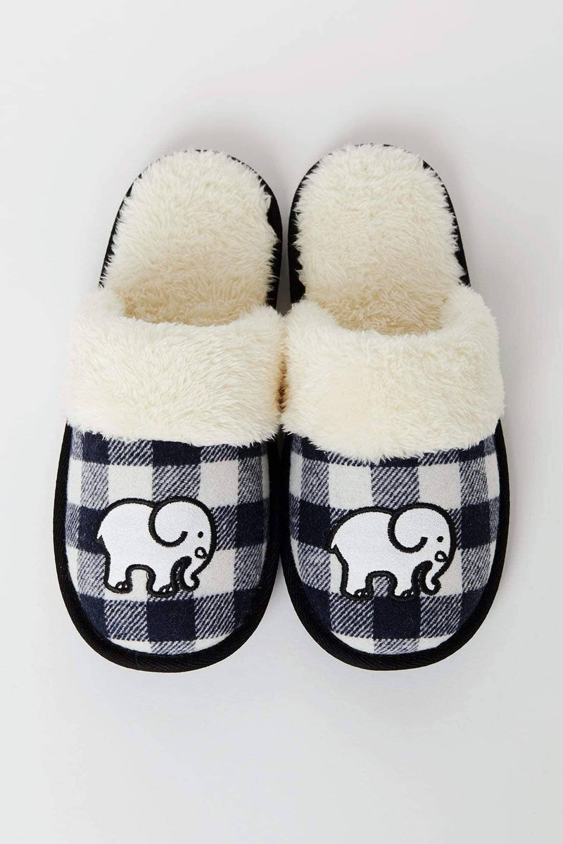 Ivory Ella Accessories Black Plaid Slippers
