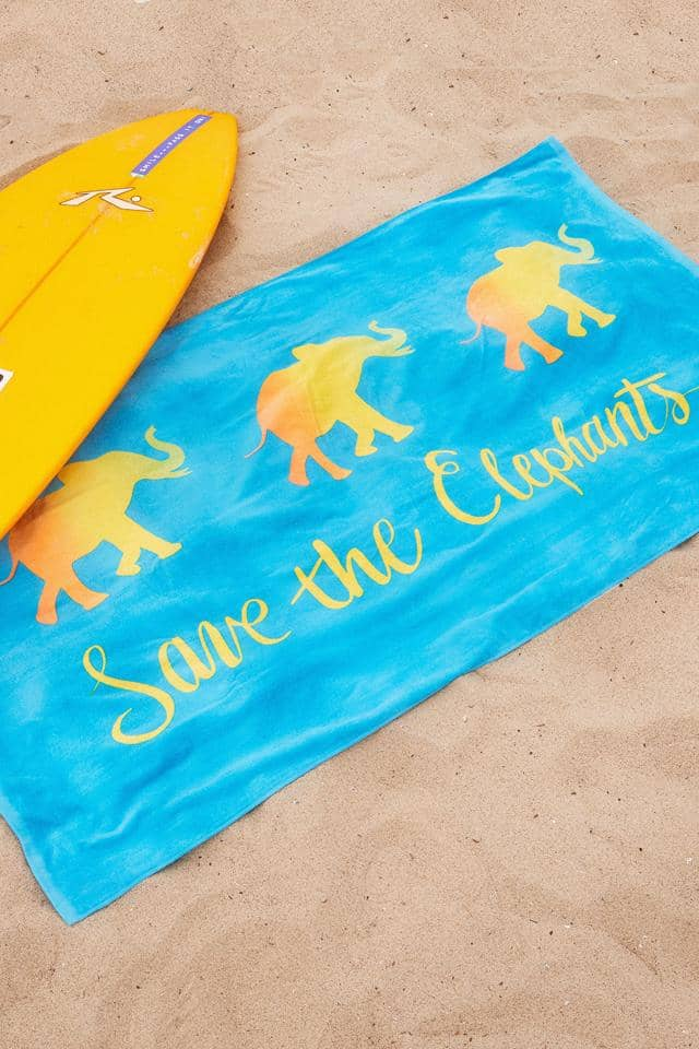 Ivory Ella Accessories Blue Forever Elephants Beach Towel