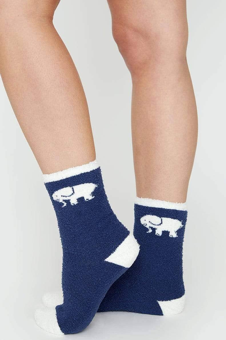 Ivory Ella Accessories Dark Navy Fuzzy Socks
