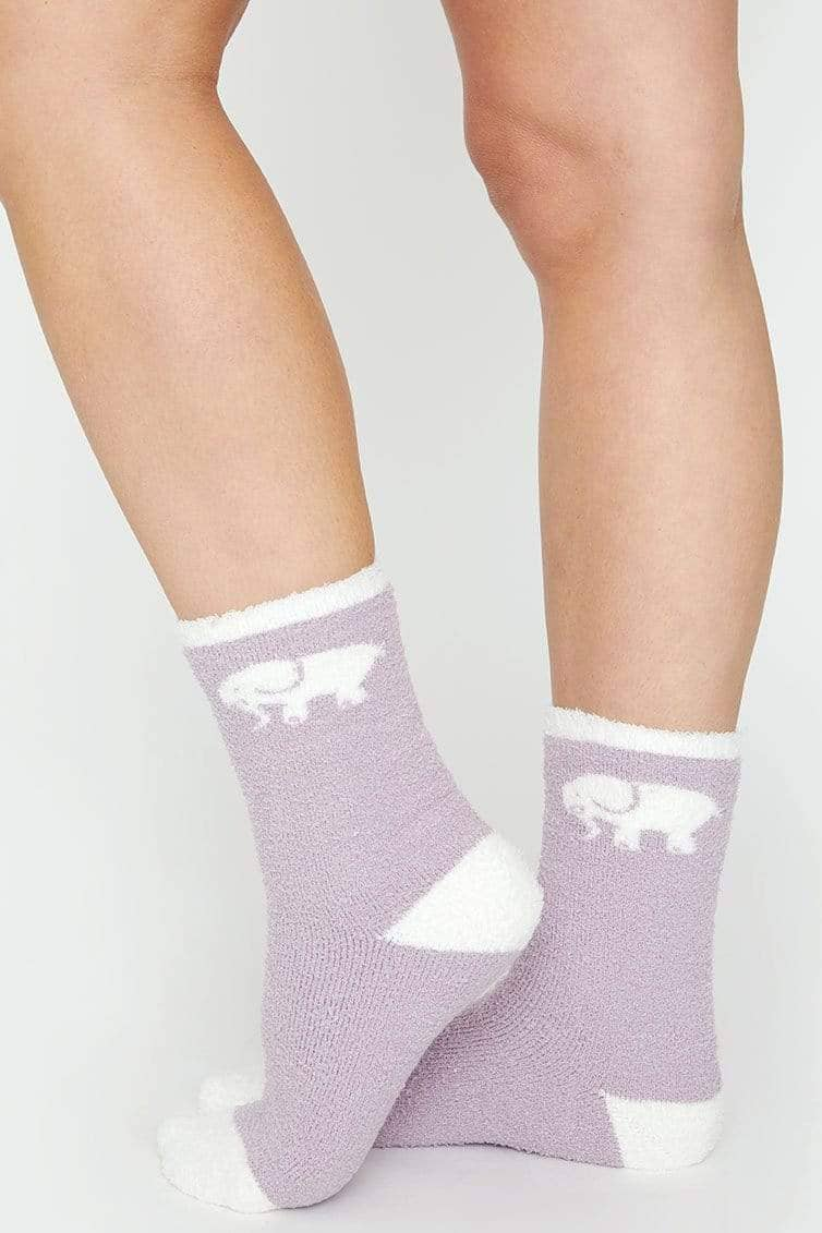 Ivory Ella Accessories Deep Purple Fuzzy Socks