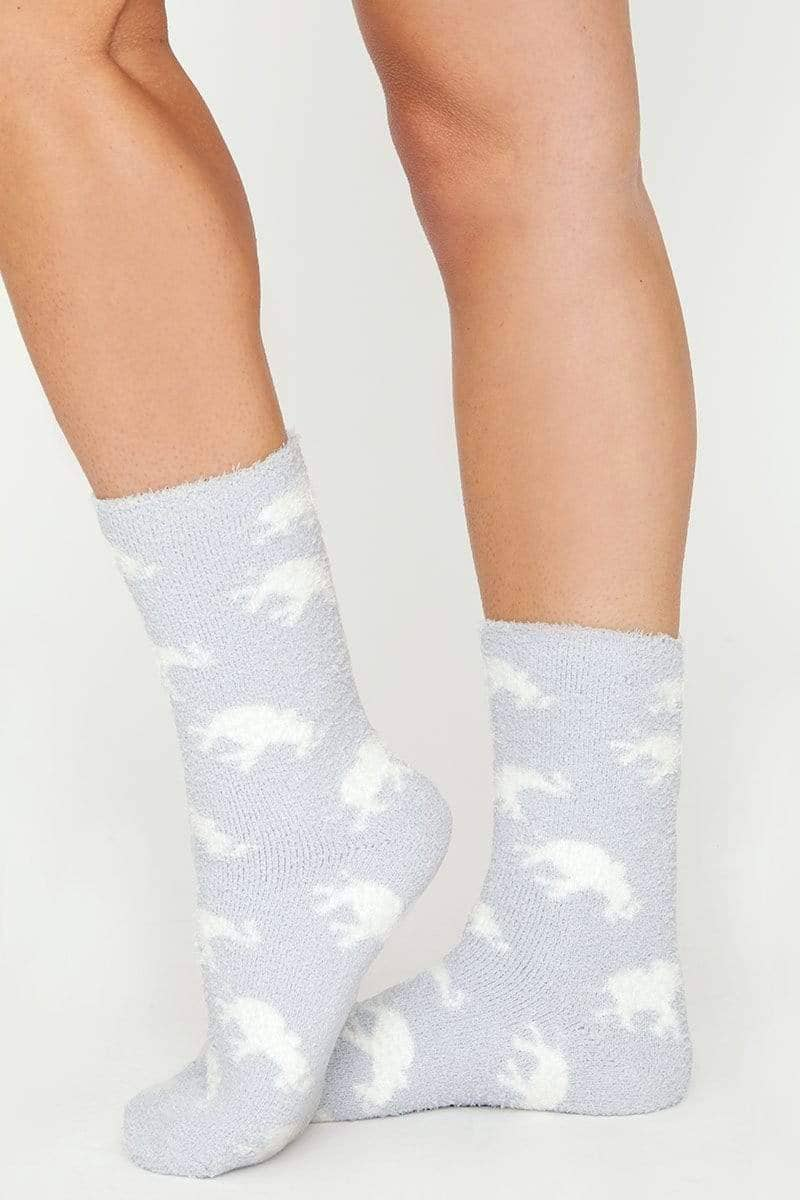 Ivory Ella Accessories Grey Tossed Elephant Fuzzy Socks