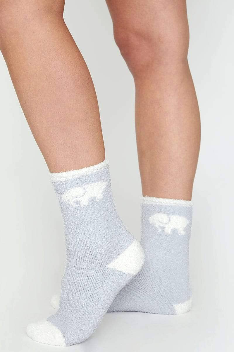 Ivory Ella Accessories Grey & White Fuzzy Socks