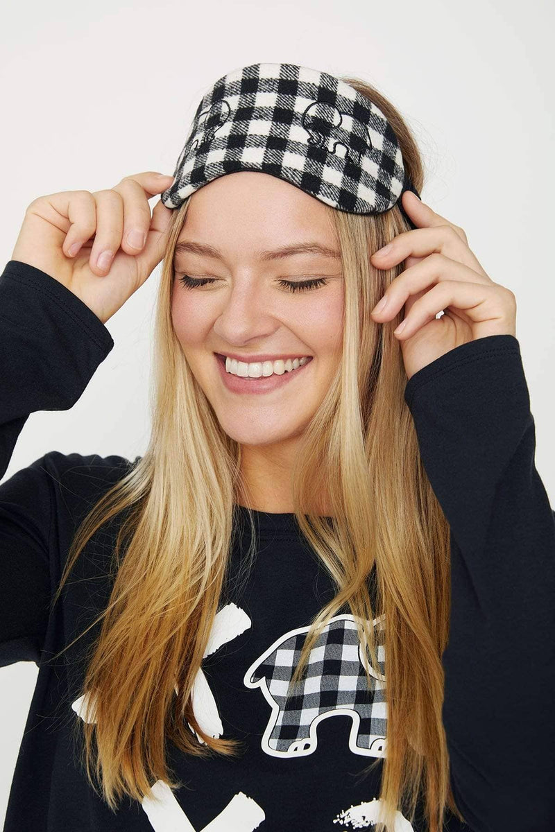 Ivory Ella Accessories OS Black Plaid Sleep Mask