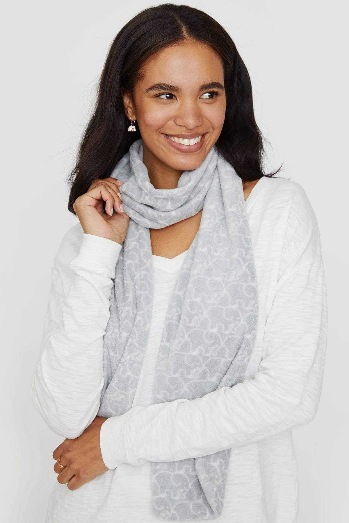 Ivory Ella Accessories OS Grey Fleece Scarf