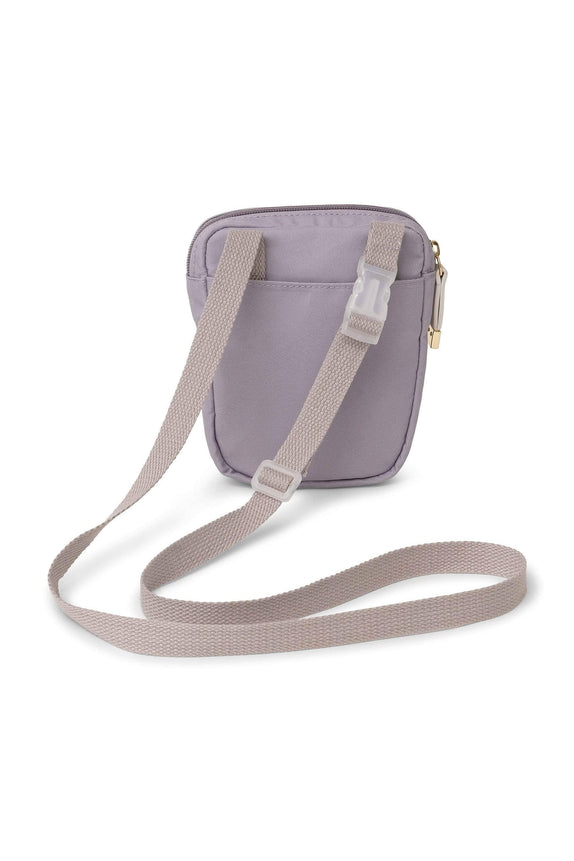 Lilac Marble Crossbody Zip Bag