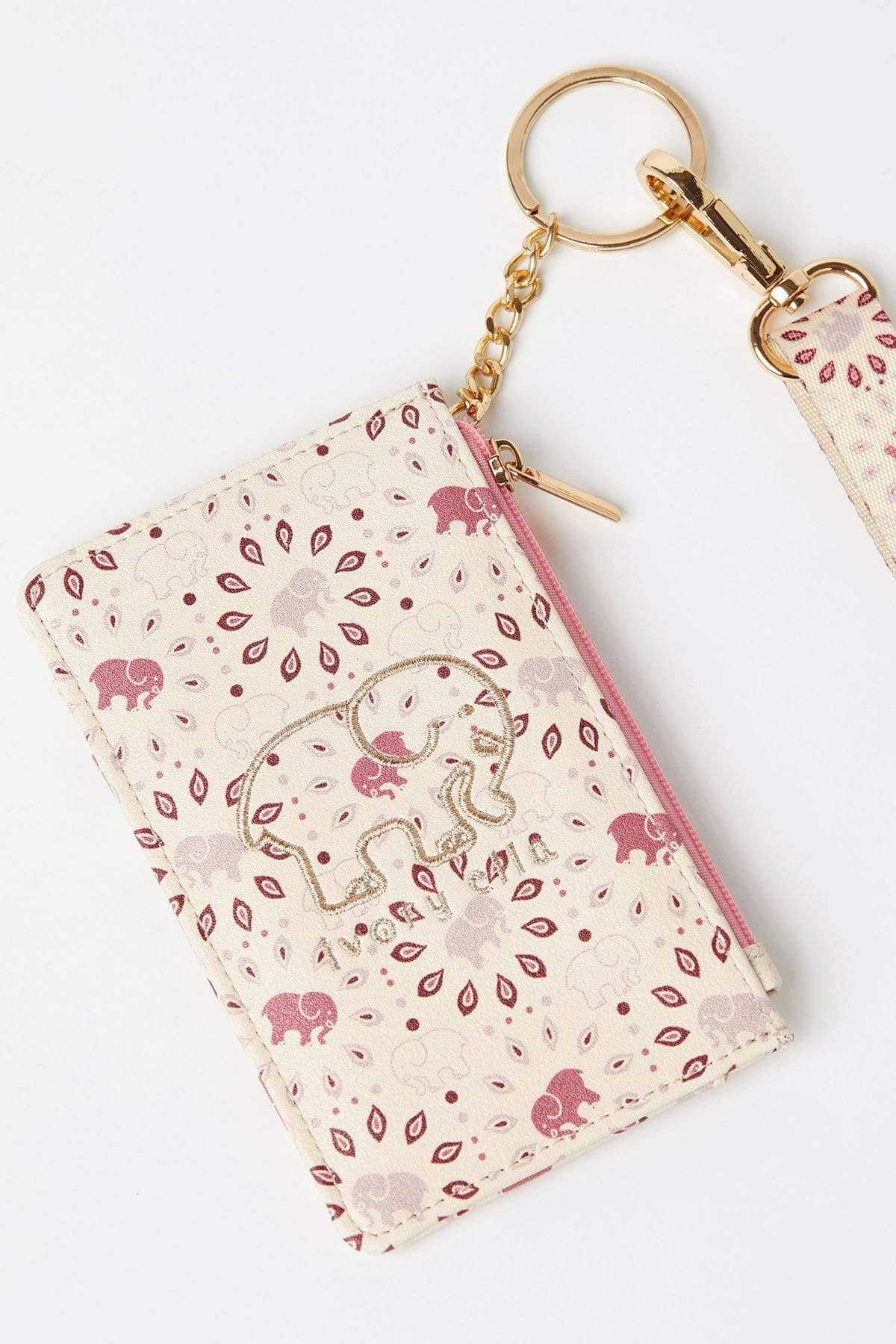 Ivory Ella Accessories OS Mauvewood Print Lanyard ID Case