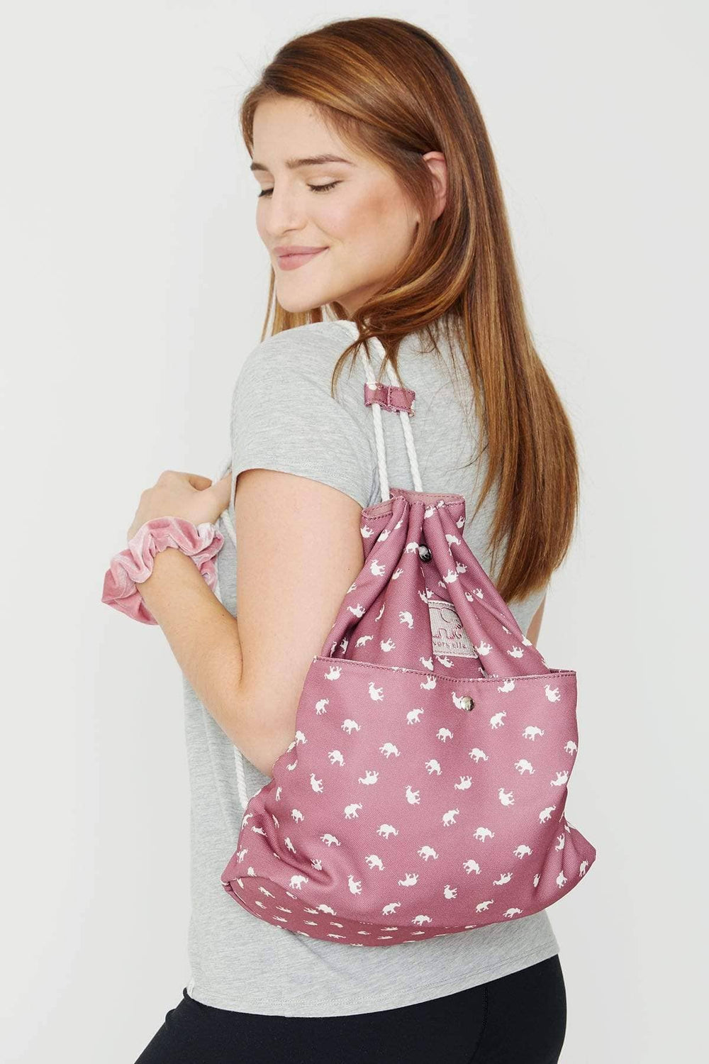 Ivory Ella Accessories OS Mauvewood Printed Drawstring Backpack