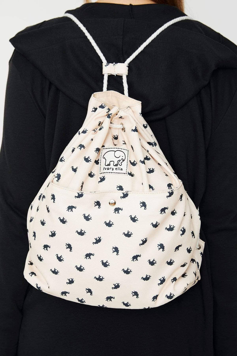 Ivory Ella Accessories OS Natural Printed Drawstring Backpack