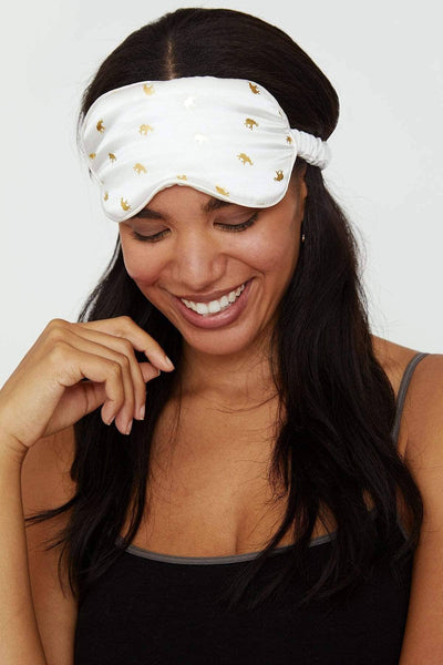 Ivory Ella Accessories OS Soft White Silk Sleep Mask