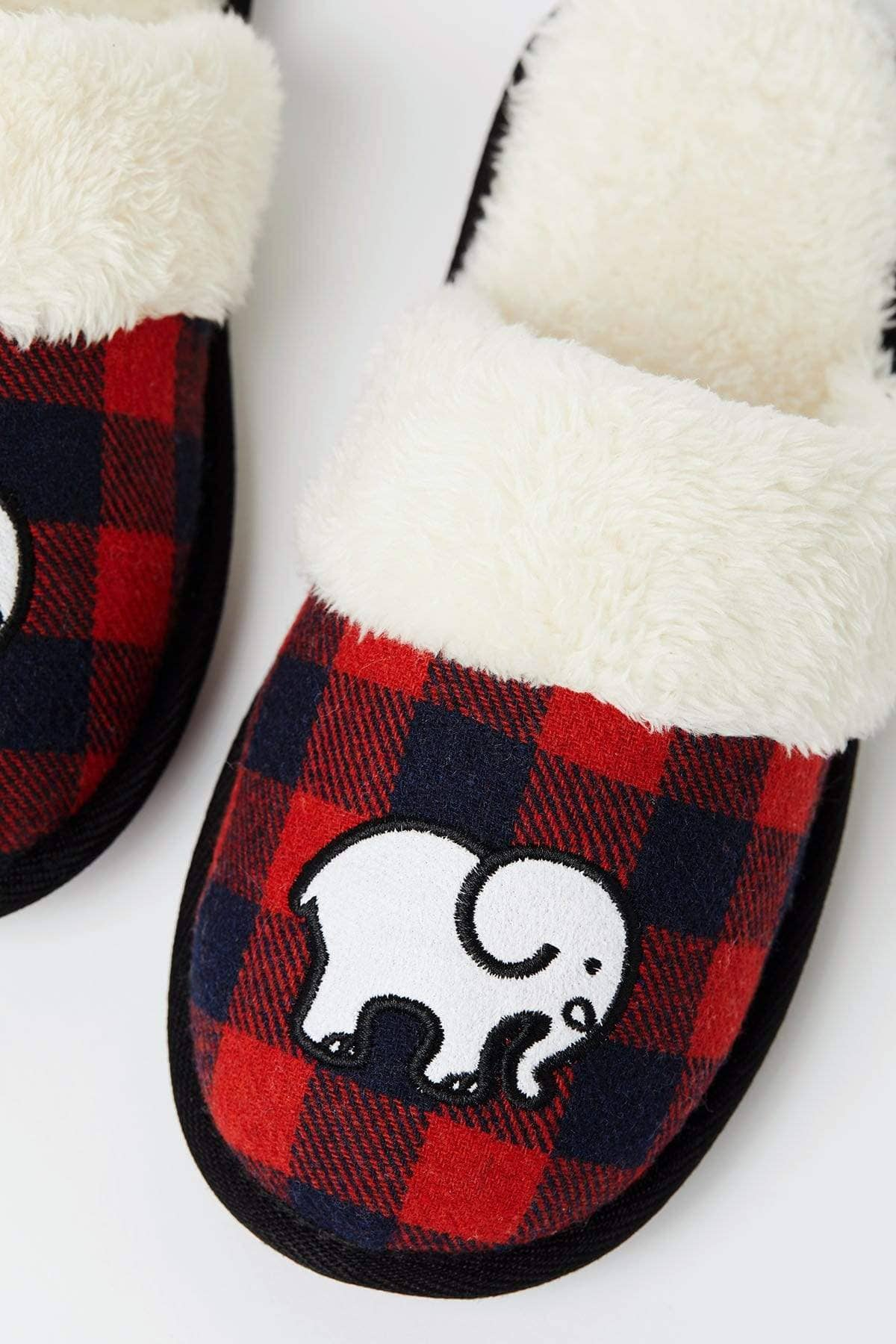 Ivory Ella Accessories Red Plaid Slippers