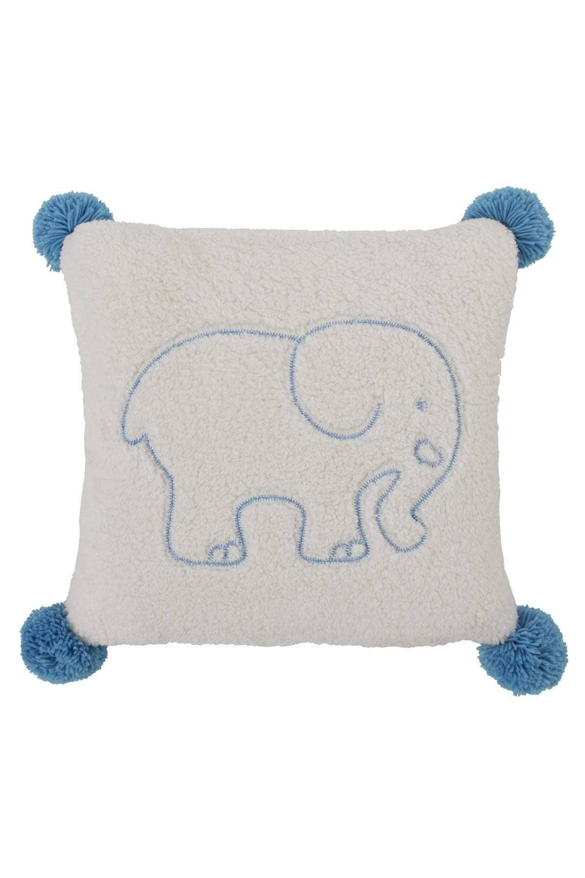 Blue Ella Sherpa Square Pillow - Ivory Ella - Home