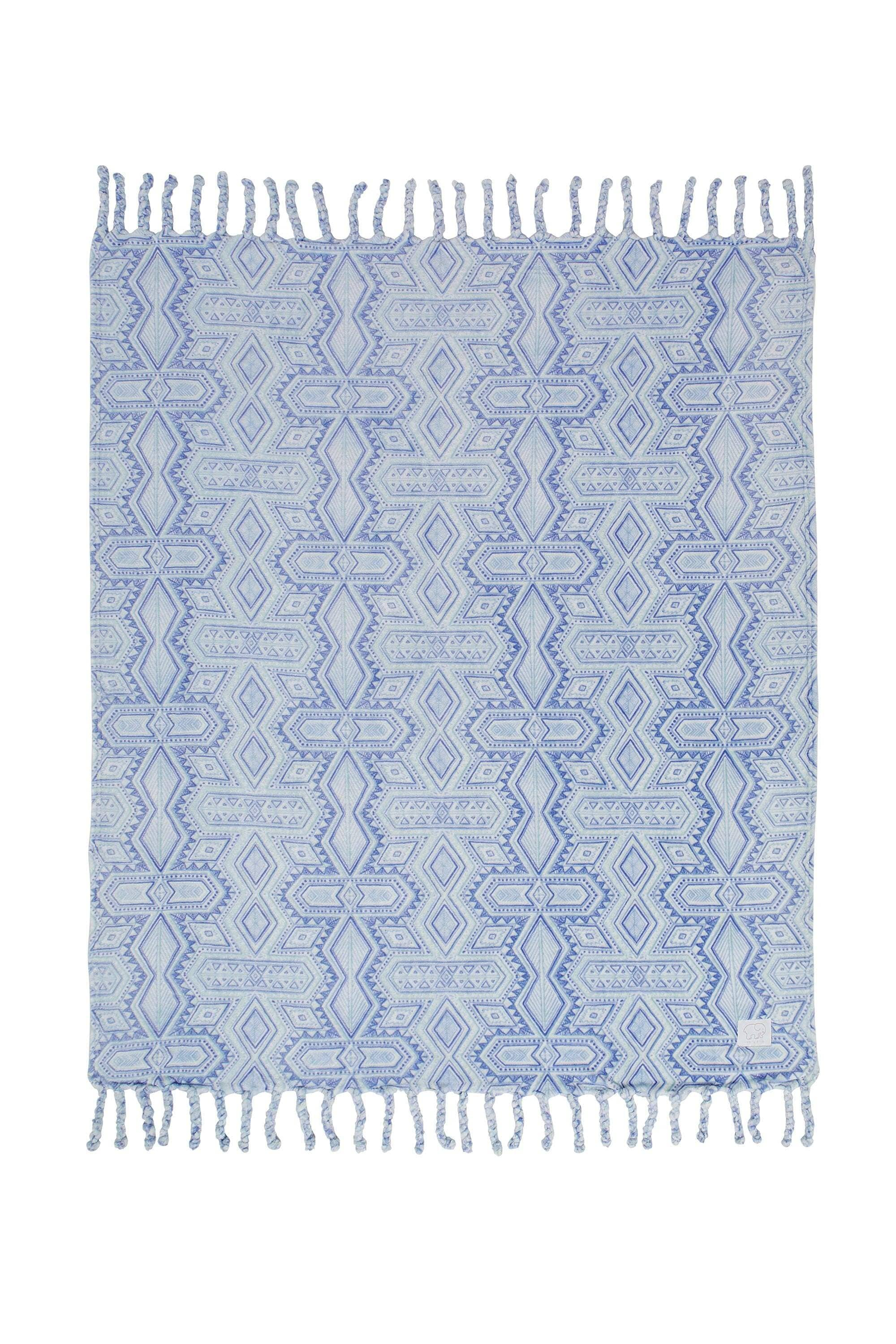 Rory Aqua Ultra Soft Plush Throw - Ivory Ella - Home
