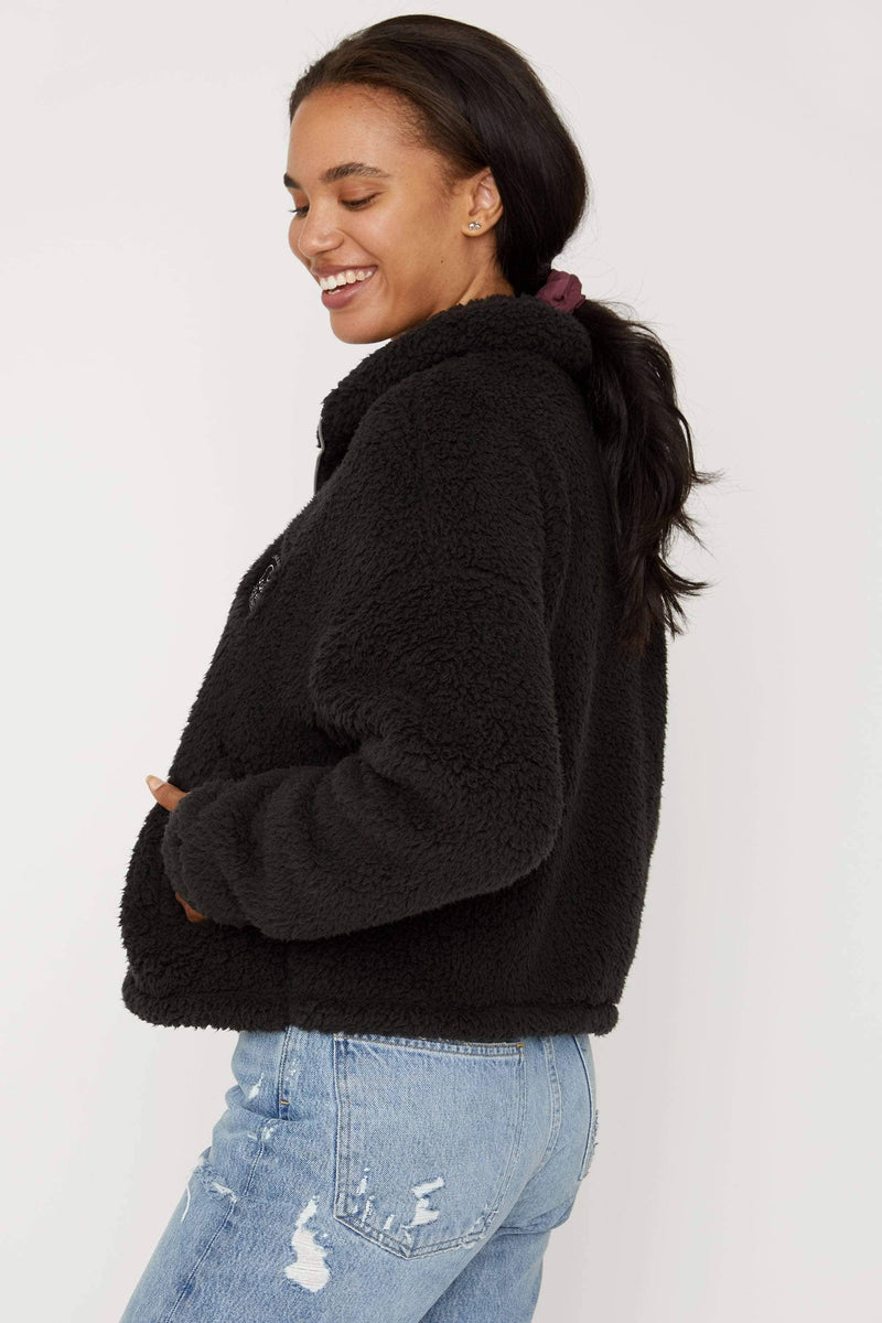 Black Full Zip Sherpa - Ivory Ella - Women's Outerwear