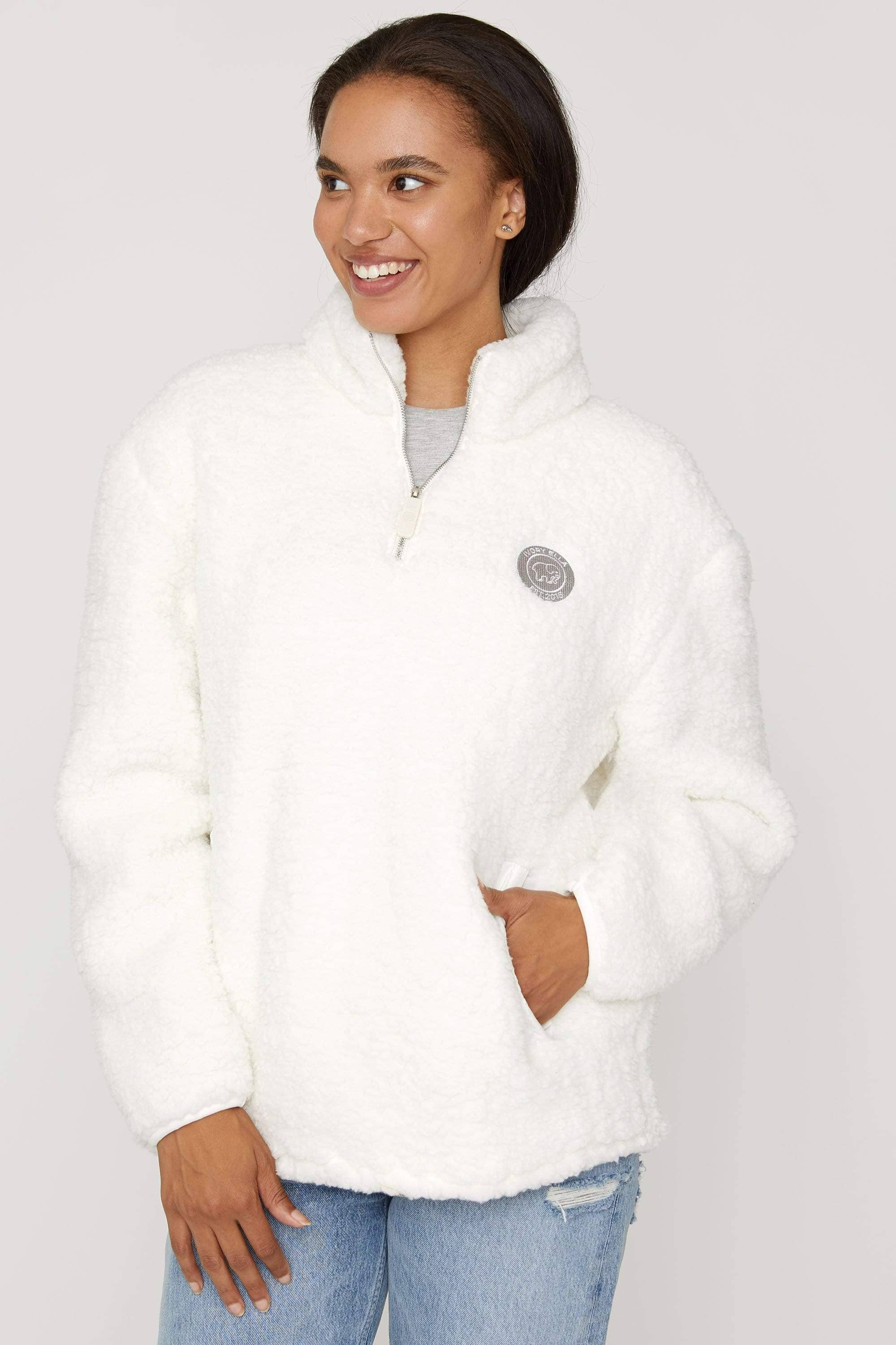 Cloud Quarter Zip Sherpa - Ivory Ella - Women's Outerwear