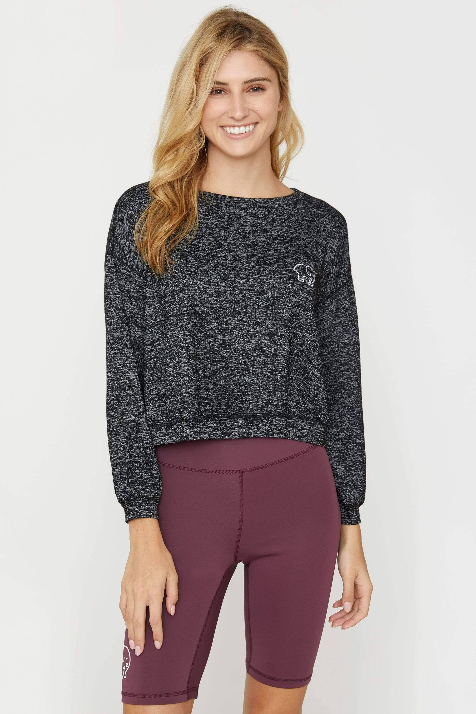 Ivory Ella Dark Grey Cozy Cropped Crew