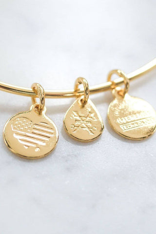 Ivory Ella Jewelry ALEX AND ANI Rosemale Gold Charm Bangle