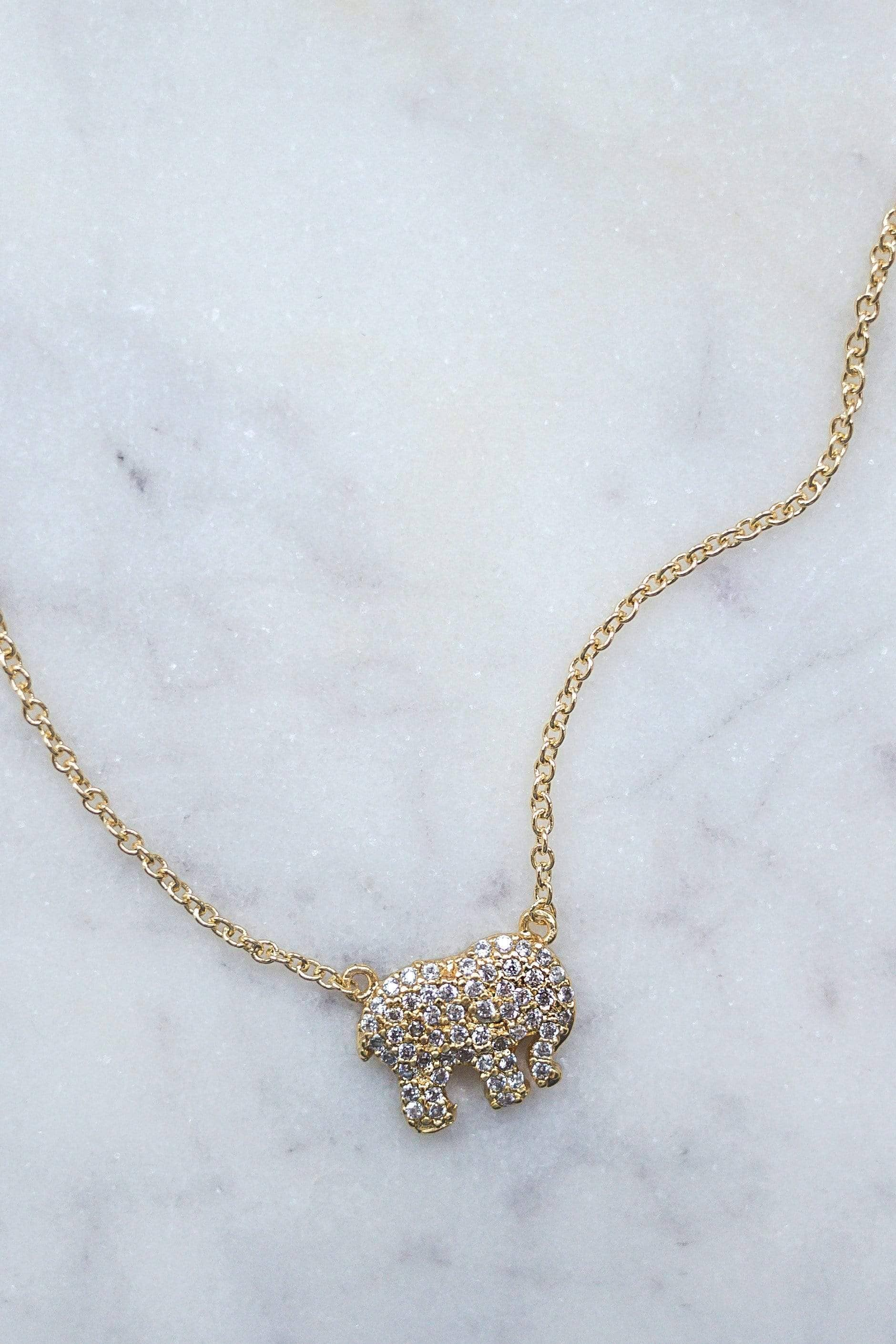 Gold Pave Charm Necklace - Ivory Ella - Jewelry