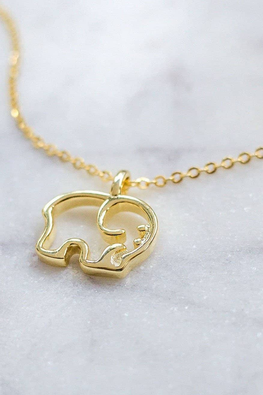 Gold Plated Ella Outline Necklace - Ivory Ella - Jewelry