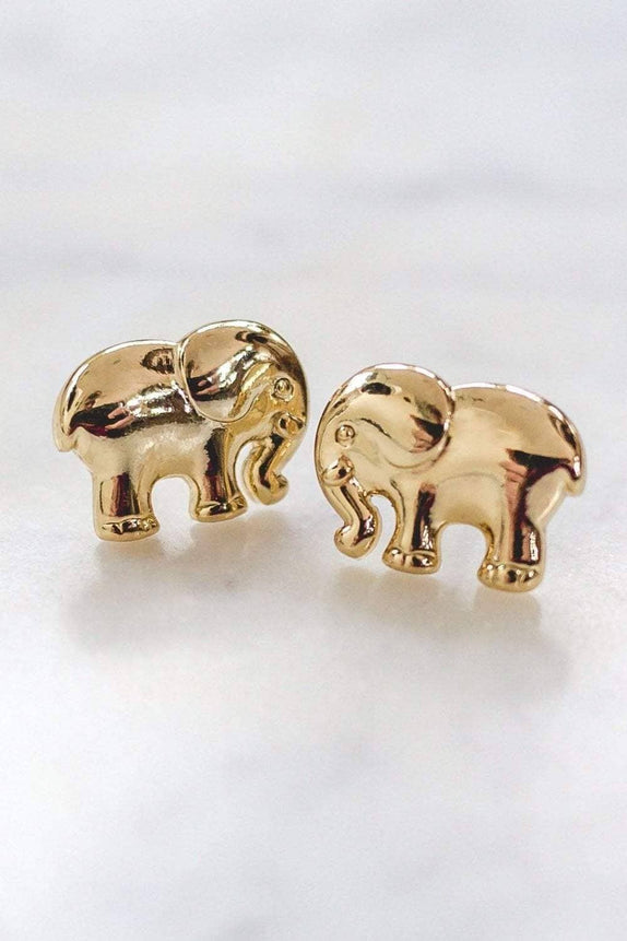 Gold Solid Elephant Earring