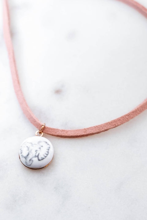 Ivory Ella Jewelry Pink & Rose Gold Locket Choker