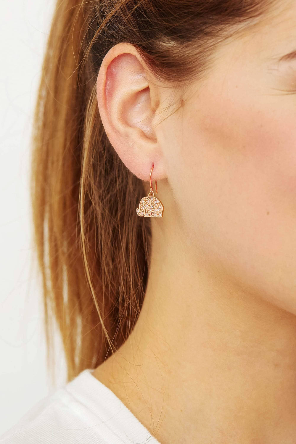 Ivory Ella Jewelry Rose Gold Lucky Elephant Charm Earring