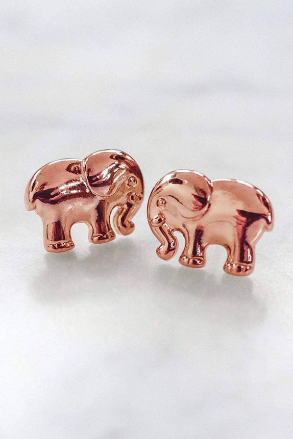 Rose Gold Solid Elephant Earring
