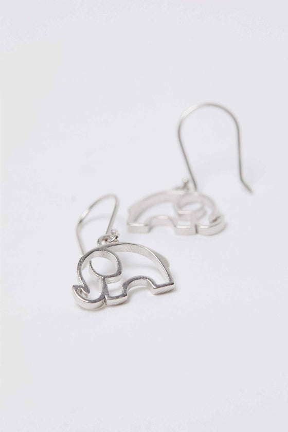 Silver Open Elephant Dangle Earrings