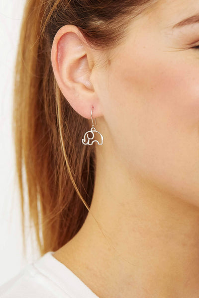 Ivory Ella Jewelry Silver Open Elephant Dangle Earrings