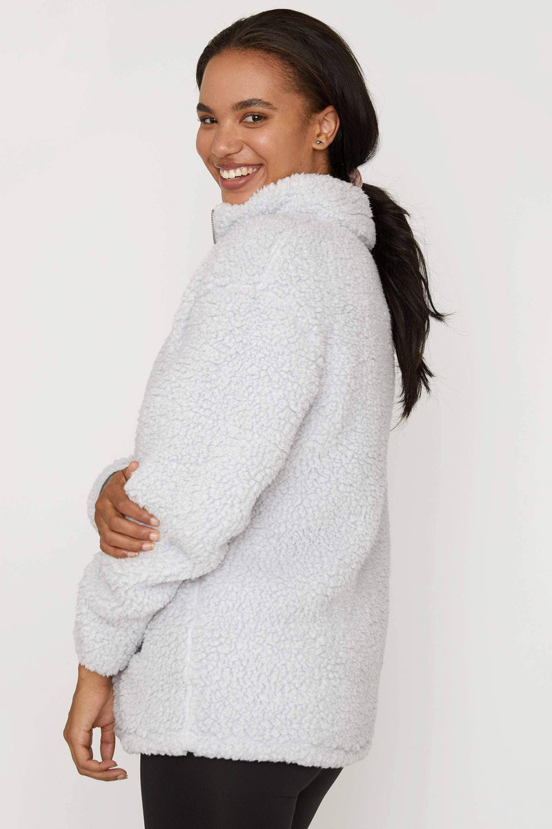 Light Grey Quarter Zip Sherpa - Ivory Ella - Women's Outerwear