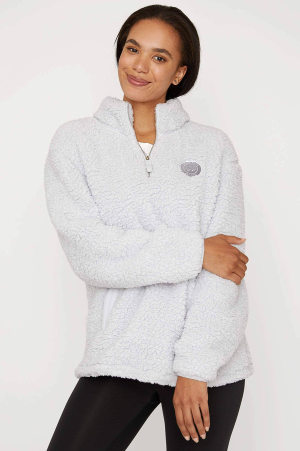 Light Grey Quarter Zip Sherpa by Ivory Ella