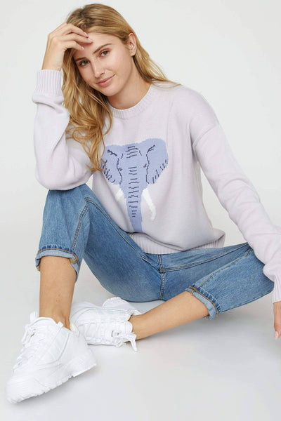 Ivory Ella Lilac Marble Intarsia Sweater